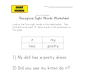 sight word activities it, my, two, pretty