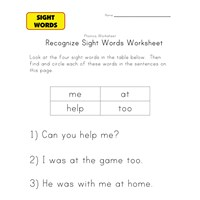 sight word activities me, at, help, too