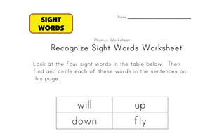 sight word activities up, down, will, fly