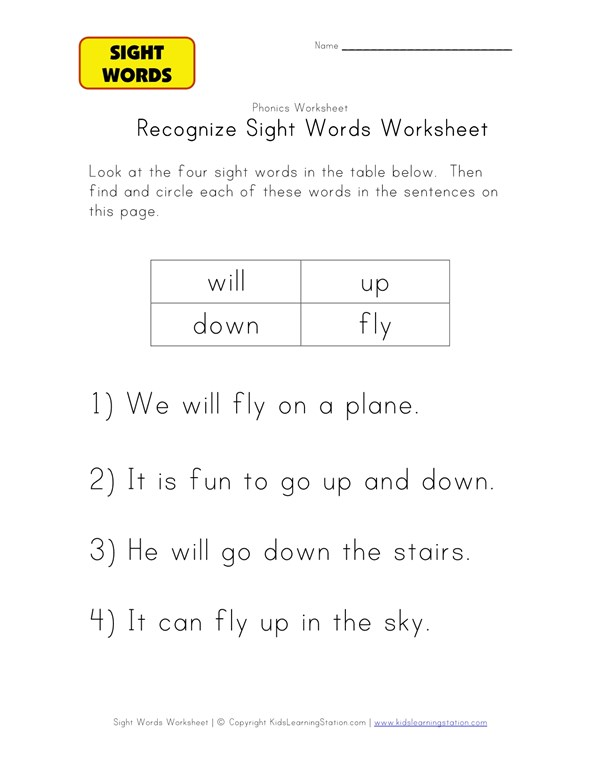 Sight Words Activity Worksheet Up Down Will And Fly All Kids. Sight Words Activity Worksheet Up Down Will And Fly All Kids Work. Preschool. Sight Words For Preschoolers Worksheets At Clickcart.co