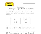 sight word activities you, and, play, with