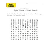 sight word search fly, for, here, is, look, that, they and what