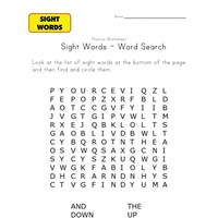 sight word search and, down, find, little, the, up, will and you