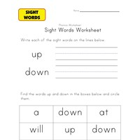 sight words down up