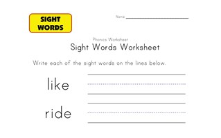 sight words like ride