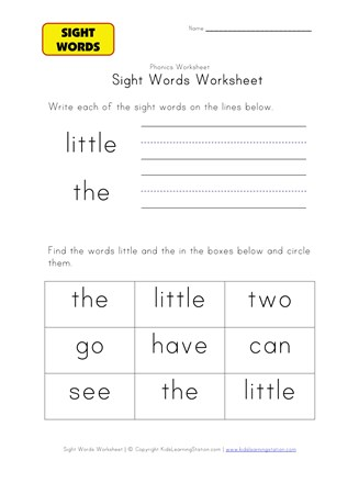sight words the little