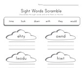 Sight Words Word Scramble - Time, Look, Down, With, They and Would