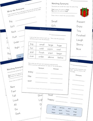 synonyms antonyms worksheets