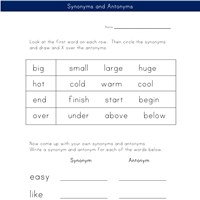 antonym and synonym worksheet
