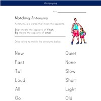 matching antonyms worksheet