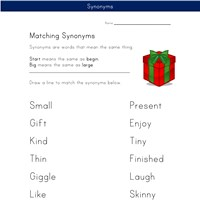 matching synonyms worksheet