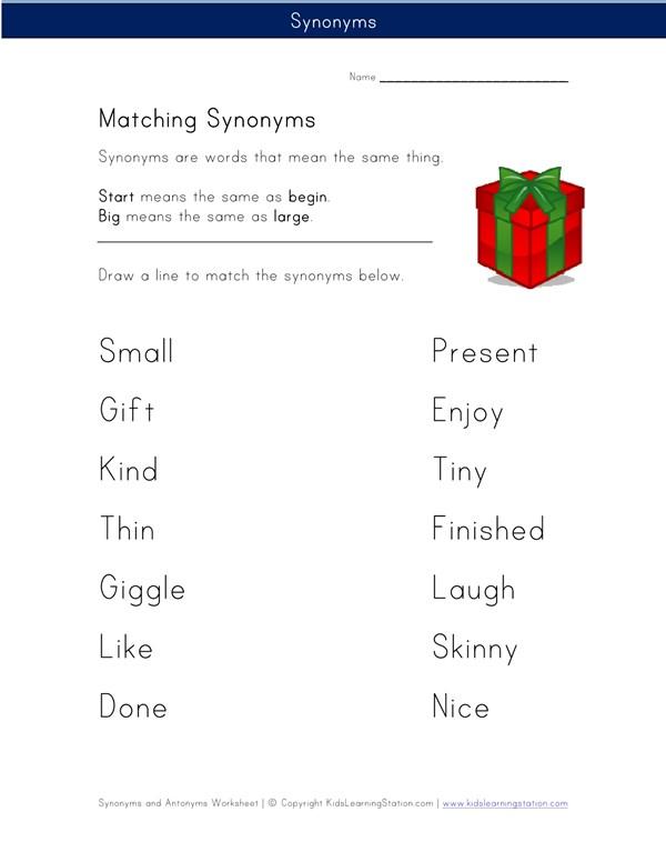 synonym matching game printable
