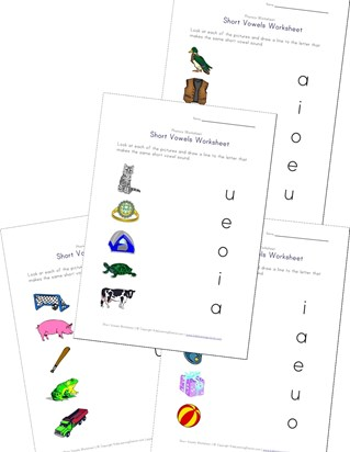 short vowel matching worksheets
