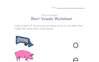 short vowel matching worksheet