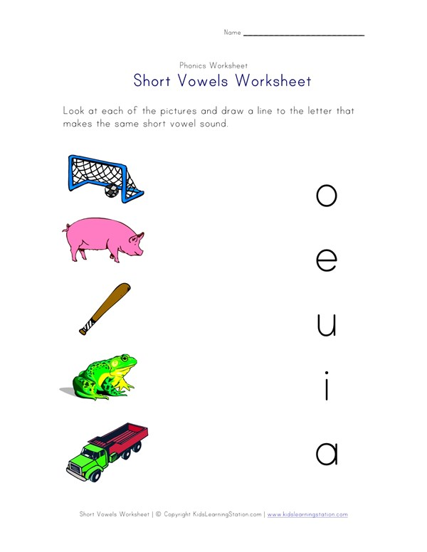 Short Vowel Matching Worksheet One Of Four All Kids Network