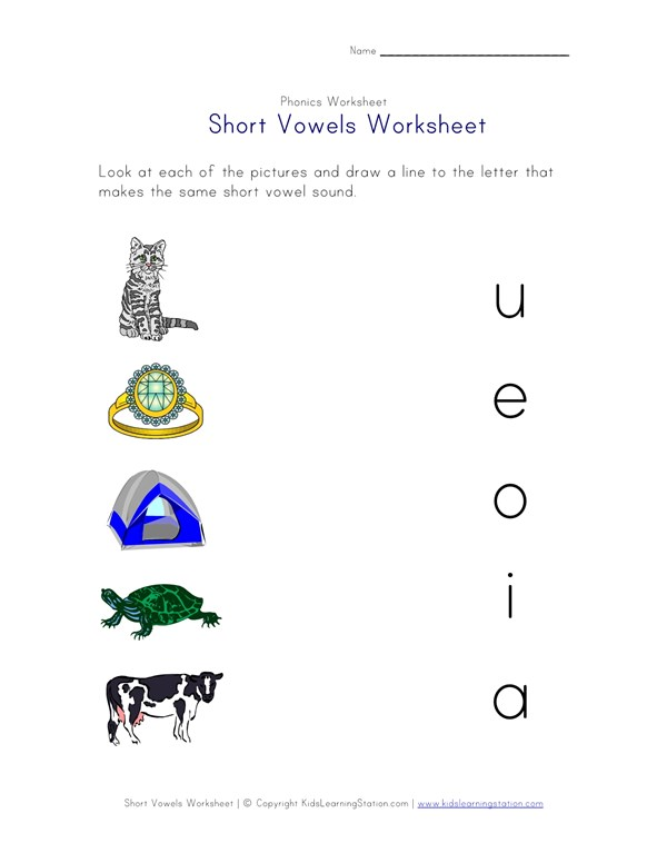 Short Vowel Matching Worksheet Four Of Four All Kids Network