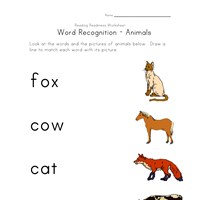 animals word recognition worksheet