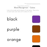 colors word recognition worksheet