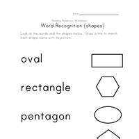 shapes word recognition worksheet