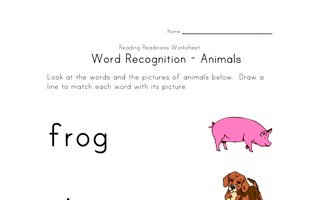 word recognition worksheet animals