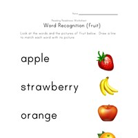 word recognition worksheet fruit