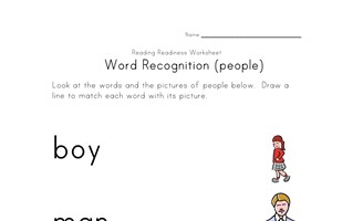 word recognition worksheet people