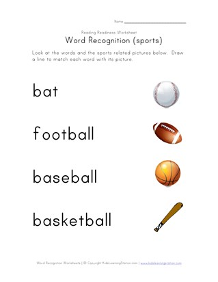 word recognition worksheet sports