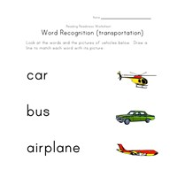 word recognition worksheet vehicles