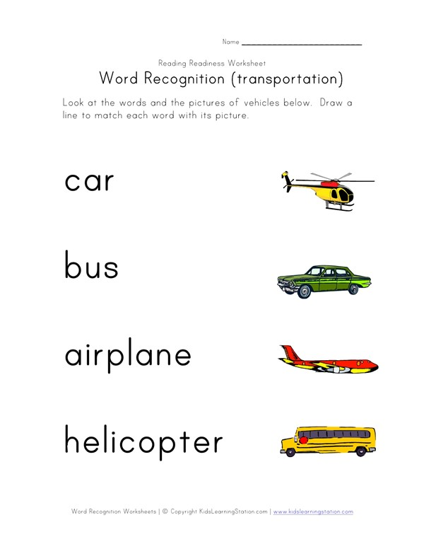 Word Recognition Worksheet - Transportation | All Kids Network