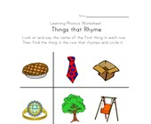 words that rhyme worksheet