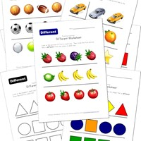preschool same different worksheets