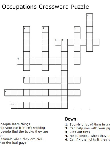 Occupations Crossword Puzzle