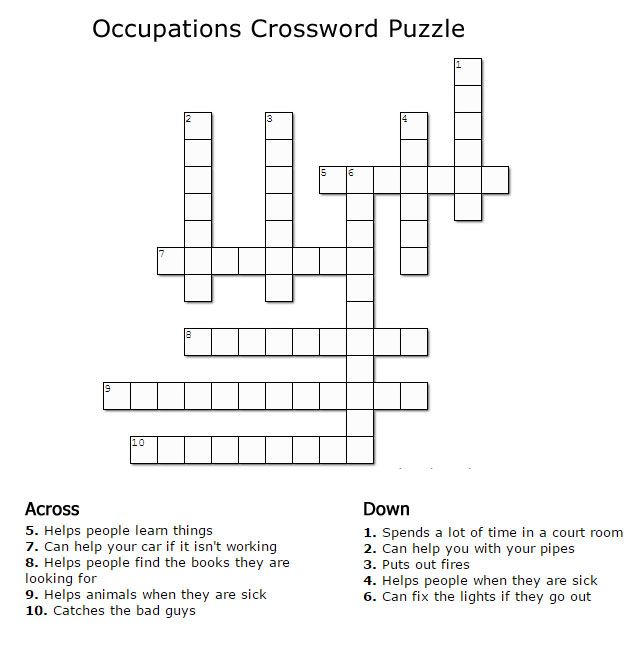 Kids Crossword Puzzles Print Your Occupations Crossword Puzzle