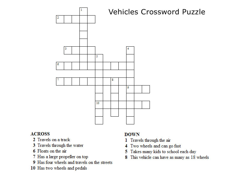Kids Crossword Puzzles Print Your Vehicles Puzzle