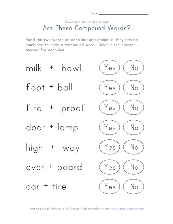 Reading Compound Words Worksheet - Two of Four | All Kids Network