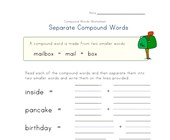 separate compound words worksheet 1