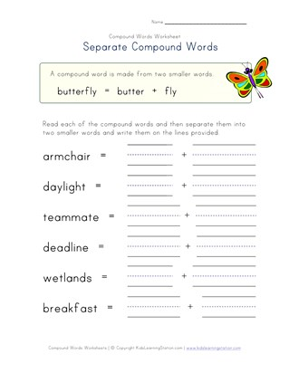 separate compound words worksheet 3
