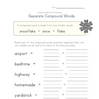 separate compound words worksheet 4