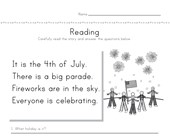 4th of July Reading Comprehension Worksheet
