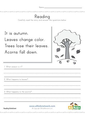Autumn Reading Comprehension Worksheet | All Kids Network