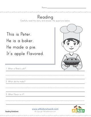 Baker Reading Comprehension Worksheet