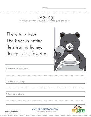 Bear Reading Comprehension Worksheet