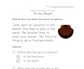 reading comprehension worksheet - beach story