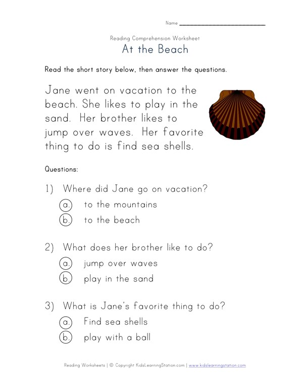 Beginner Reading Comprehension Worksheet At The Beach All Kids