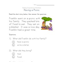 reading comprehension worksheet - having a picnic