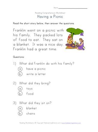 Beginner Reading Comprehension Worksheet - Having a Picnic ...