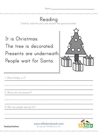 christmas reading comprehension worksheet all kids network