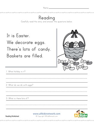 Easter Reading Comprehension Worksheet