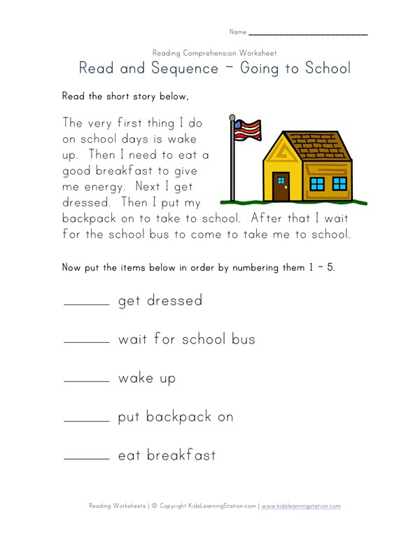 Easy Reading Comprehension Getting Ready For School All Kids Network