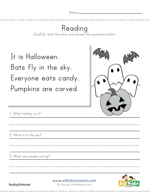 Halloween reading comprehension worksheet all kids network ibookread PDF